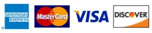 We accept Visa, MasterCard, American Express, debit cards and personal checks